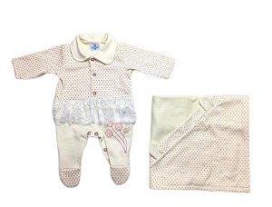 Saída de Maternidade Suedine Poa Ma - 3 Peças