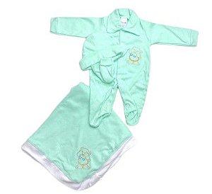 Saída de Maternidade Suedine Verde Bebê Unissex - 4 peças
