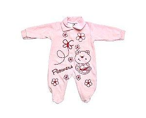 Macacão Plush Estampado Rosa Bebê
