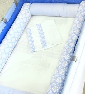 Kit Para Berços Desmontáveis Azul - 7 Peças