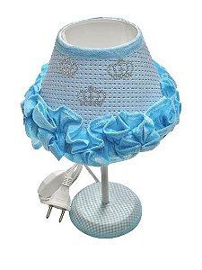 Abajur Com Babado Azul Coroa Bivolt