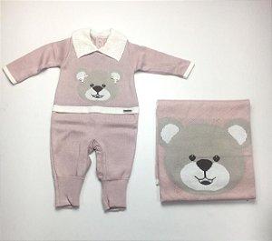 Saída de Maternidade Tricot de Ursa Rose Ma - 2 Peças