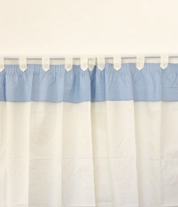 Cortina 100% Algodão Branca Com Bandô  Azul Bebê