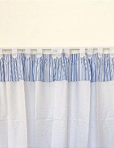 Cortina 100% Algodão Com Bandô Azul Listrado