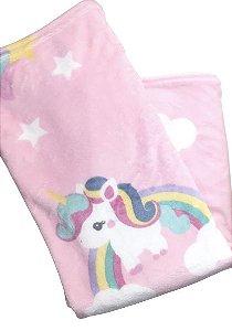 Cobertor Microfibra Unicórnio Rosa na Caixa