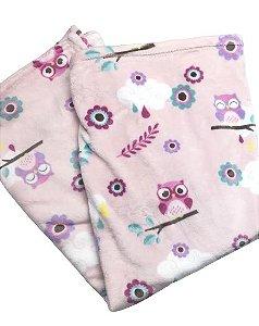 Cobertor Microfibra Coruja Rosa na Caixa