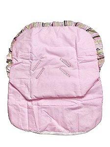 Capa De Bebê Conforto Rosa com Babado Listrado