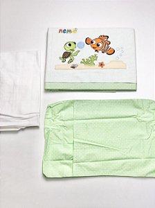 Jogo De Lençol p/ Berço Bordado Disney Nemo - 3 Peças