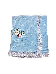 Manta de Plush de Ursinho com Forro Azul Bebê