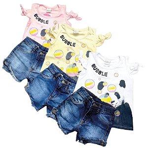 Conjunto Blusa e Shorts Jeans Feminino 4/10
