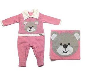 Saída de Maternidade Tricot de Ursa Rosa Ma - 2 Peças
