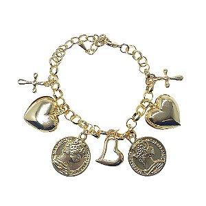 Pulseira berloqueira pingentes coração, moedas e cruz