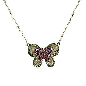 Colar cravejado de borboleta colorido