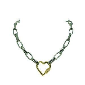 Colar de elos folheado prata e pingente coração dourado