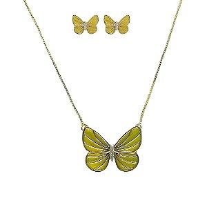 Conjunto colar e brinco borboletas esmaltado