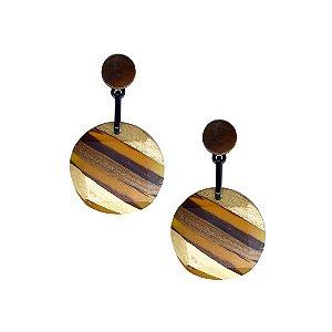 Brinco de acrílico estilo madeira