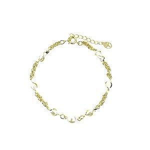Pulseira pingente pérola com pérolas entrelaçadas folheada dourada