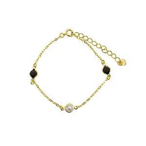 Pulseira pérola e cristal preto folheada dourada