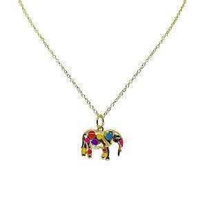 Colar delicado pingente elefante esmaltado folheado