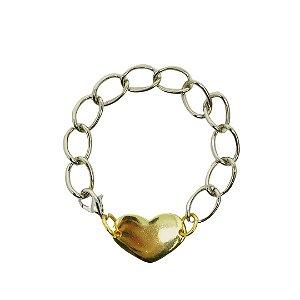 Pulseira elos prata com pingente coração dourado folheada