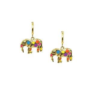 Brinco pingente elefante esmaltado folheado