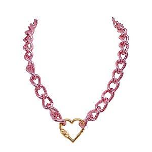Colar elos Pink Chain com fecho de coração dourado folheado