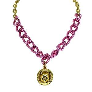 Colar Pink Chain pingente medalha raposa folheado