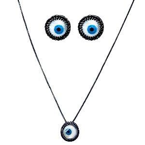 Conjunto colar e brinco olho grego com micro zircônia Manôa Black