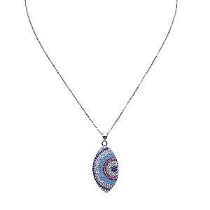Colar de mandala em formado losango cravejado de zircônia colorida Manôa Black