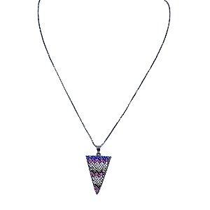 Colar triângulo mandala multicores cravejado de zircônia Manôa Black