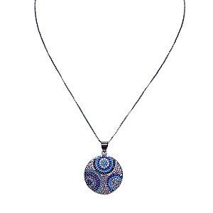 Colar mandala círculos cravejados de zircônia colorida Manôa Black