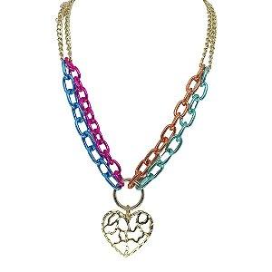 Colar corrente dupla colorida com coração vazado folheado