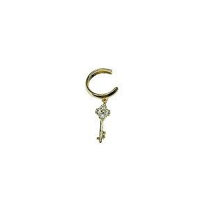 Piercing fake argolinha com pingente de chave folheado