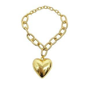 Pulseira de elos oval com pingente coração maciço