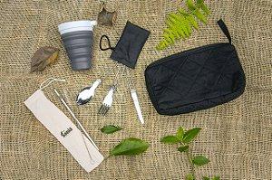 Kit Refeição Zero Lixo - Black - Necessaire Artesanal, Copo Retrátil de Silicone Ecoh, Talheres Dobráveis de Metal, Canudo de Aço Inox