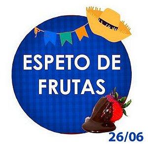 ESPETO DE FRUTAS COM CHOCOLATE - Uva, Morango ou Banana - RETIRADA SOMENTE NO DIA DA FESTA COM HORÁRIO PREVIAMENTE AGENDADO - 26 de junho