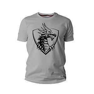 Camiseta de malha com Dragão - Cinza
