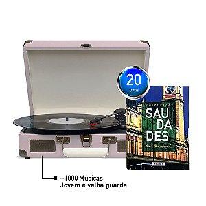 KIT Saudades do Brasil + Maleta Toca Disco + 1000 Músicas - ROSA