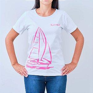 Camiseta -TRIPULAÇÃO- Branca com Rosa