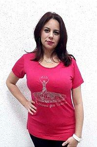 Camiseta - Mulheres Que Vencem Rosa com strass prata