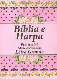 BÍBLIA PEQUENA COM HARPA  LAMINADO FLORAL ROSA