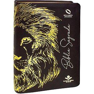 Bíblia Sagrada Leão Marrom Escuro