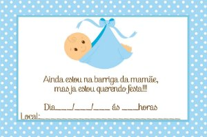 12 Convites Chá de Bebê Menino
