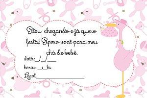 12 Convites Chá de Bebê Menina Cod. 01