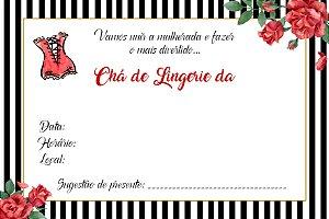 12 Convites Chá de Lingerie