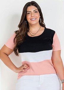 Blusa Rosa Tricolor Plus Size