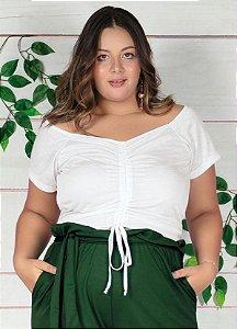 Cropped Branco Com Cordão Ajustável Plus Size
