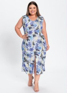 Vestido Midi Floral Azul Com Fenda Plus Size