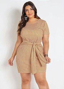 Vestido Listrado Com Amarração Plus Size