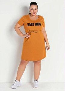 Vestido Caramelo Com Estampa Na Frente Plus Size